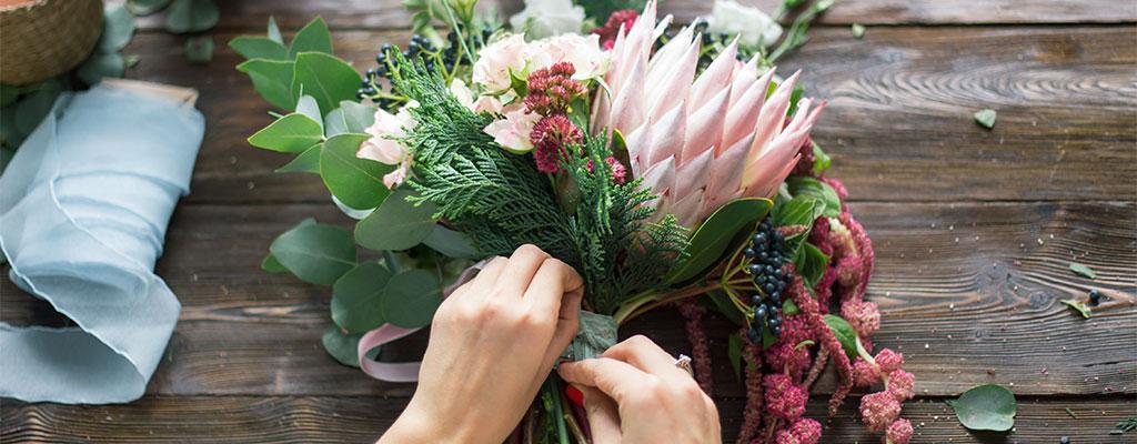 bukett med blommor